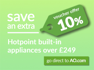 save an extra 10% on Hotpoint appliances over £249 with voucher