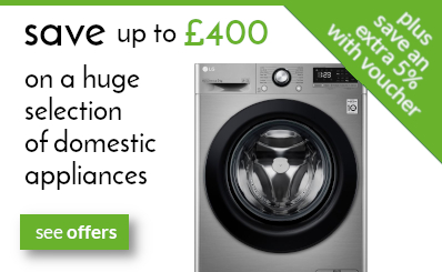 save up to £400 on selected domestic appliances